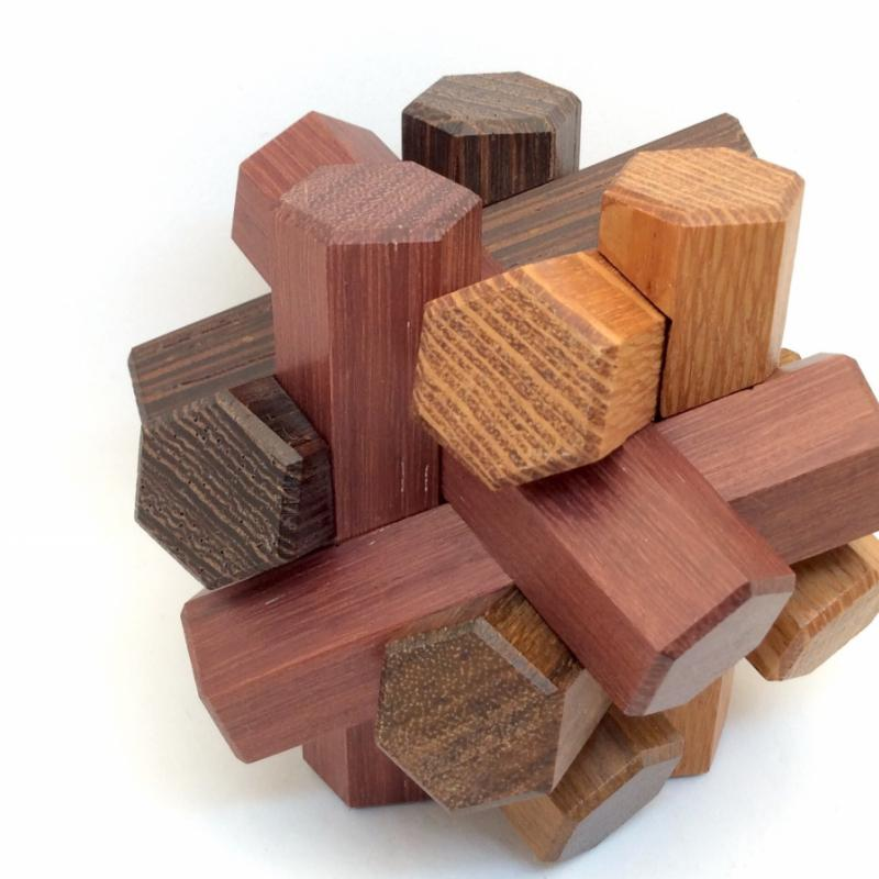 Hex Sticks Puzzle variant Multi woods