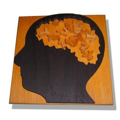 "Very Unusual and Difficult  ""Brain"" Jigsaw Wood"