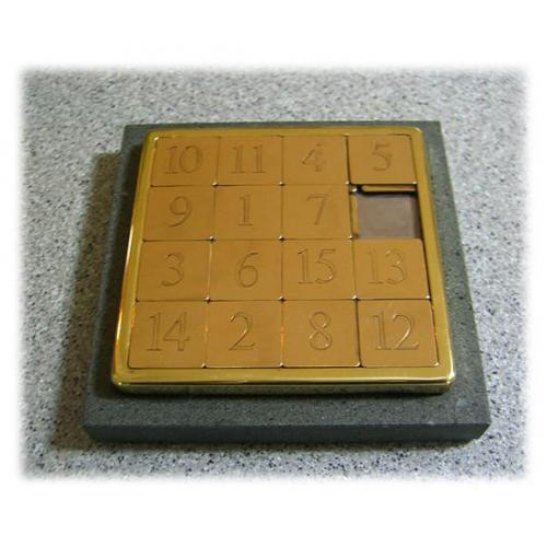 Rare Large Solid Brass 15 Slide Puzzle Henley Co England