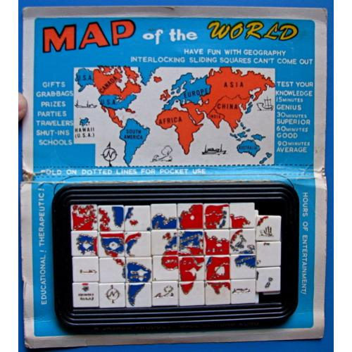 Map of the World, vintage sliding block puzzle