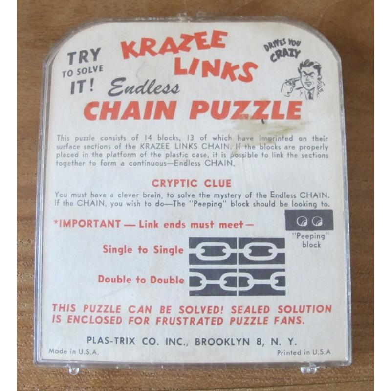 Krazee links endless chain puzzle