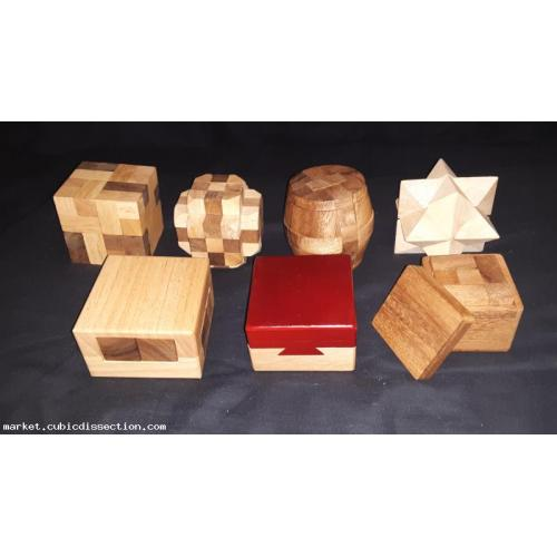 Lot of 7 wooden mechanical puzzles